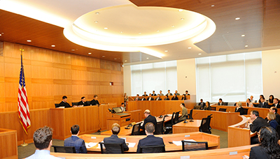 The United States Court of Appeals for the Second Circuit sitting in Fordham Law's Gorman Moot Courtroom. Photo by Dan Creighton