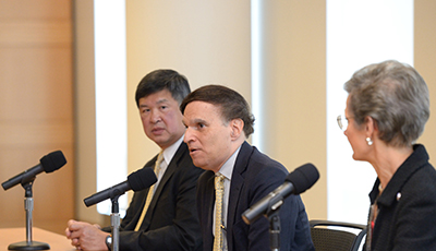 Left to right: Judge Denny Chin '78, Chief Judge Robert A. Katzmann, and Loretta A. Preska, Chief Judge of the Southern District of New York, during the Q&A. Photo by Dan Creighton