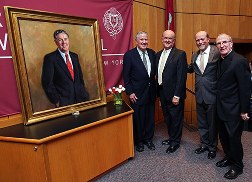 John D. Feerick, Michael M. Martin, William Michael Treanor, and Joseph M. McShane, S.J. Photo by Bruce Gilbert