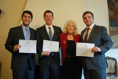 Jared Kasner '14, James Burbage '15, Professor Maria L. Marcus, and Michael C. Shapiro '15