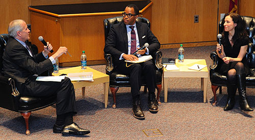 David McCraw, Jonathan Capehart, and Amy Davidson discuss Snowden's fate. Photo by Dan Creighton