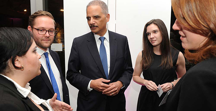 Before the dinner, Eric Holder spoke with Fordham Law students in the Stein Scholars program.