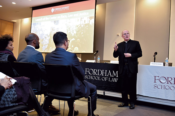 Joseph M. McShane, SJ, president of Fordham University, at the center launch event.