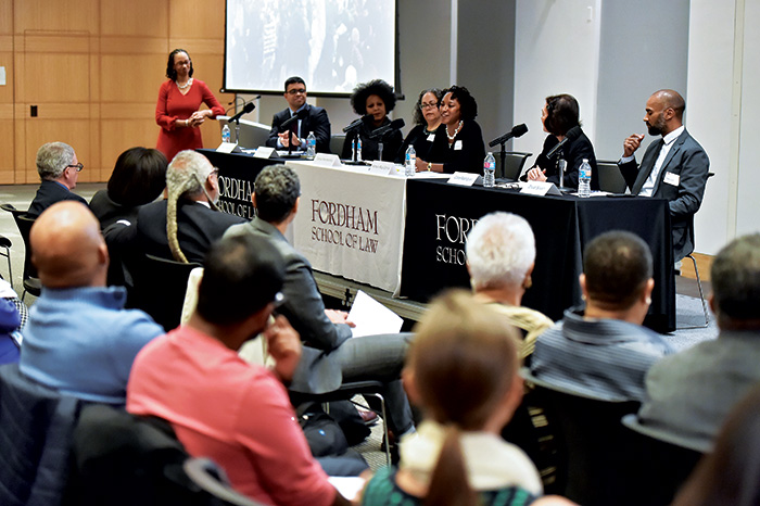Panelists at the February 29 launch of the Center on Race, Law and Justice.