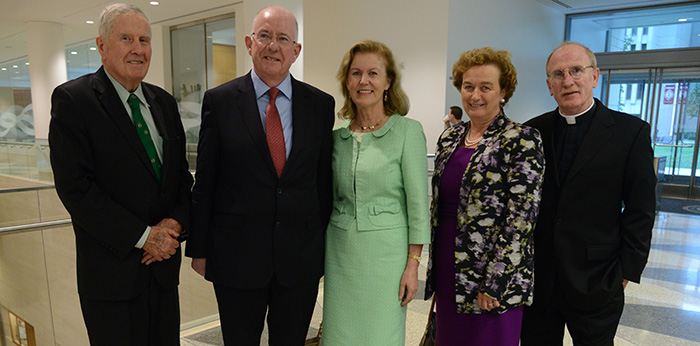 Left to right: John Feerick '61, former dean of Fordham Law School; Charles Flanagan, Ireland's minister for foreign affairs and trade; Anne Anderson, ambassador of Ireland to the United States; Barbara Jones, counsel general of Ireland; Joseph McShane, S.J., president of Fordham University. Photo by James Higgins.