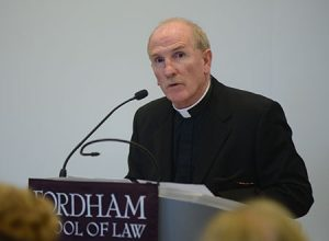 In introducing Minister Flanagan, Joseph McShane, S.J., president of Fordham University, called his long dedication to service noble and sacred.