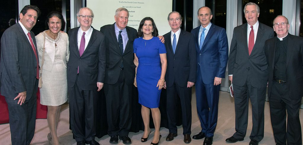 Fordham Law Dean Matthew Diller, Maria L. Imperial, Hon. Jonathan Lippman, John D. Feerick '61, Judith A. Livingston, Thomas A. Moore '72, Roland R. Acevedo '96, James J. Roth '83, and Joseph M. McShane, S.J., president of Fordham University. Photo by Ben Asen.