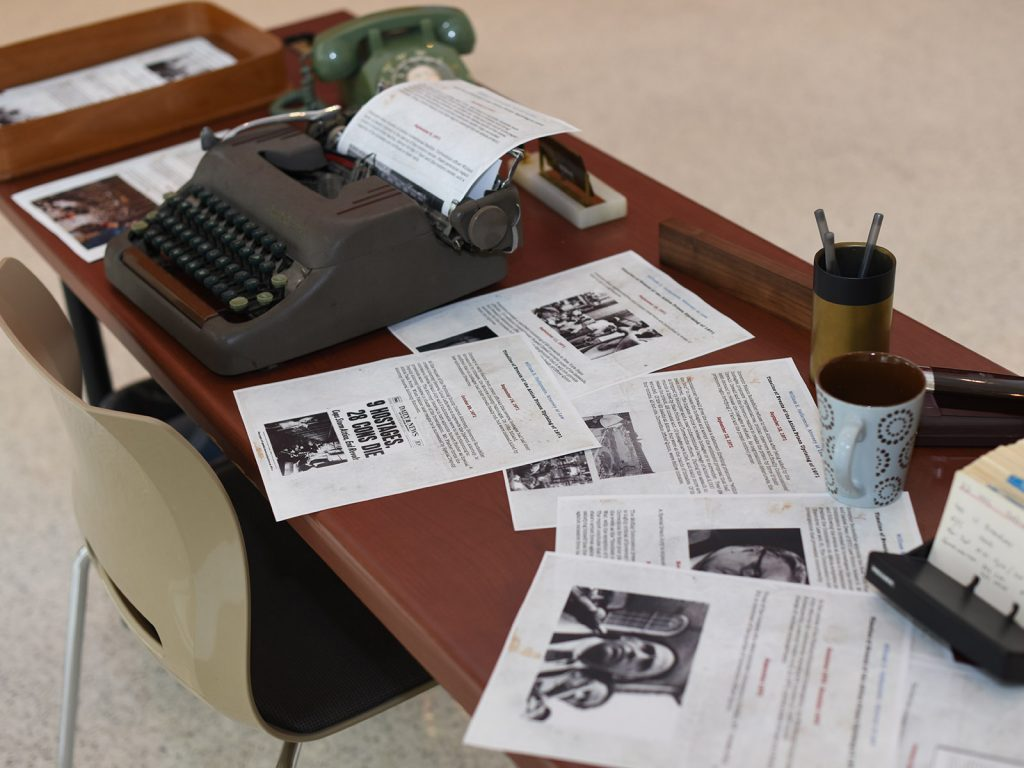 A Stein Scholars exhibit presented a mock desk for civil rights attorney William S. Kunstler, with information about the Attica Prison uprising of 1971