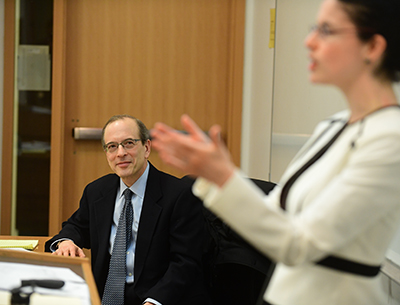Judge Steven Gold visited Professor Janet Freilich's Intellectual Property class.