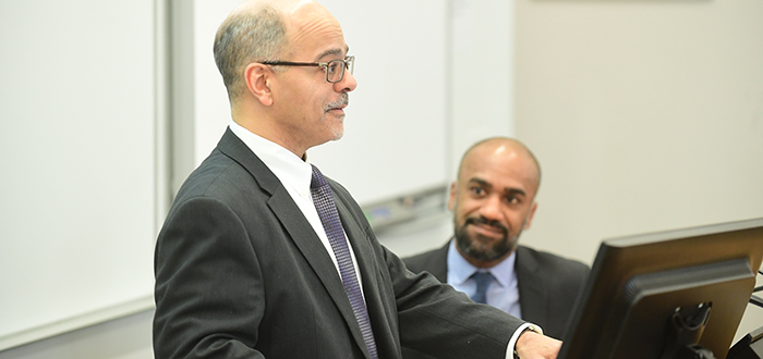Judge Ramon E. Reyes Jr. visited Professor Olivier Sylvain's Information Law class.