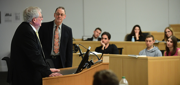 Judge Eric N. Vitaliano visited Professor James Brudney's Legislation and Regulation class.