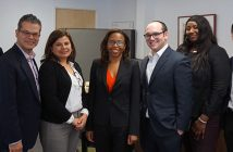 Edouard Wilhelm, William Malpica '00, Julieta McPherson, Bernice Grant, Zachary Sherman, Blessing Adeyeye, and Edward Kim