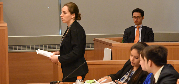 Rebecca Rosen cross-examines plaintiff as Dr. Mark Curato looks on.