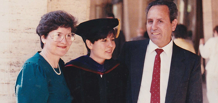 Maria Araujo Kahn with her parents at her Fordham Law graduation, 1989