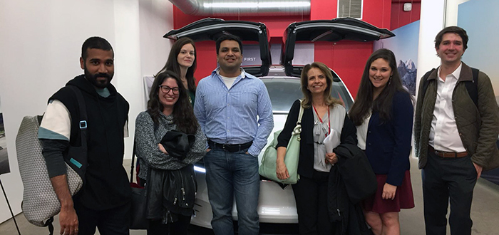 Yanisky-Ravid and students at Tesla offices in New York City.