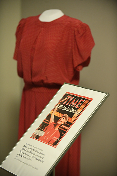 Dress worn by Ferraro when Walter Mondale announced her selection as his vice president running mate.