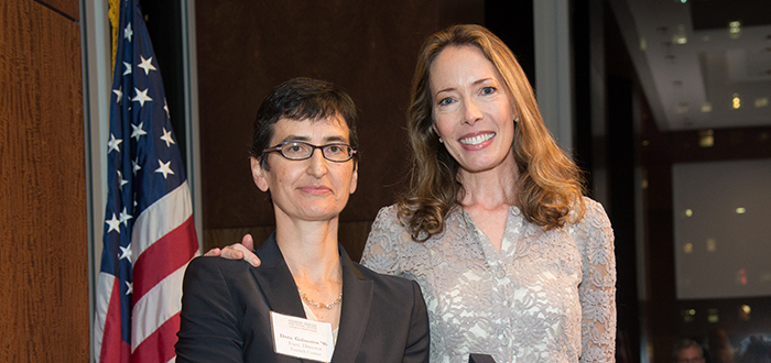 Miriam Buhl '92 (right) with Dora Galacatos '96, in 2014