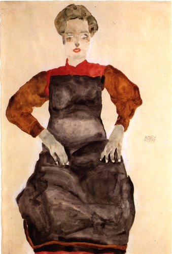 Woman in a Black Pinafore by Egon Schiele