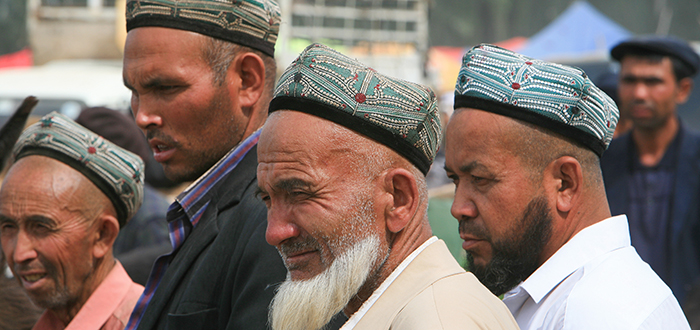 Uighur farmers at the Sunday Livestock Market in Kashgar, an oasis city in the Xinjiang Autonomous Region.