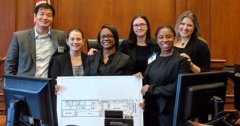 Coach Dave Mou '13, Nicole Rubin, Eartha Jn. Baptiste, Lauren Scully, Ashley Meadows, and Coach Cassie Rohme '14