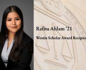 Rafita Ahlam '21 Named Recipient of Westin Scholar Award